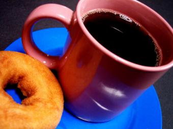 Coffee and doughnut.
