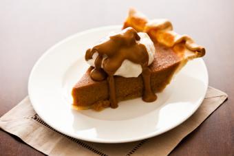 Biscoff pumpkin pie with whipped cream.