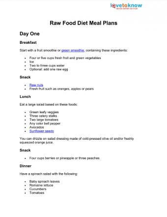 raw food diet meal plans