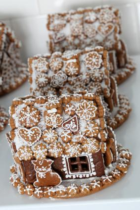 Gingerbread houses decorated with royal icing