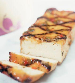 Grilled slab of tofu.