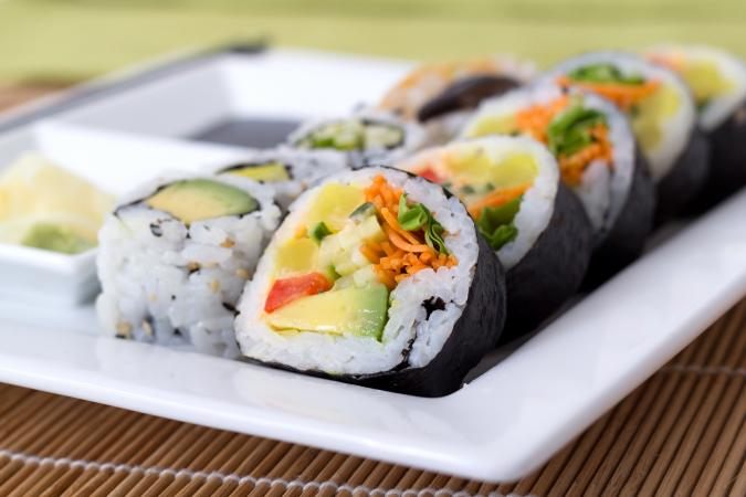 vegetarian sushi plate