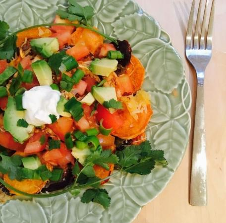 Image of vegan sweet potato nachos for lunch