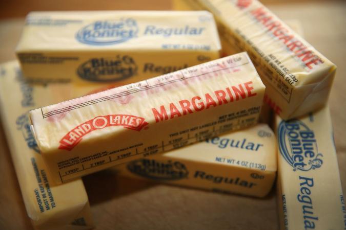Variety of sticks of margarine