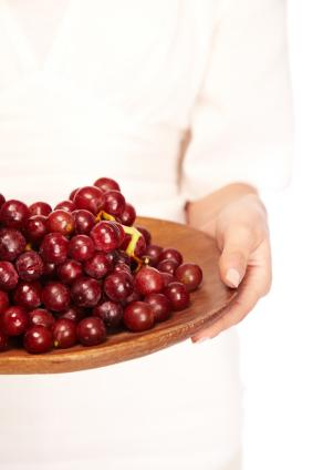 platter of red grapes