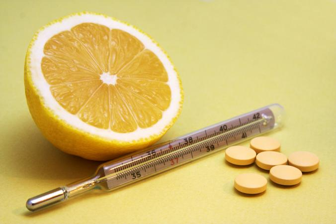Lemon and vitamin c tabs with thermometer