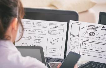 Designer working at new web design