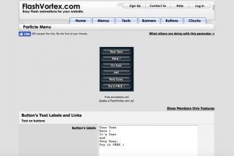 Flash Vortex Menu Generator Screenshot