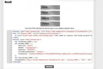 Webestools flash menu generator