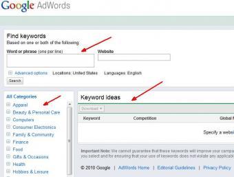 Google Keyword Search Tool