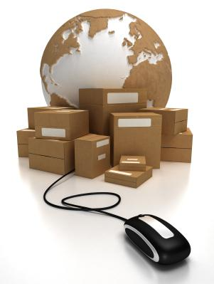 A globe with packages connected to a mouse.