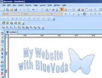 screenshot of BlueVoda website builder
