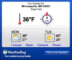 Screenshot of WeatherBug widget