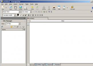 Screenshot of KompoZer software