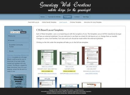 free css template genealogy web creations