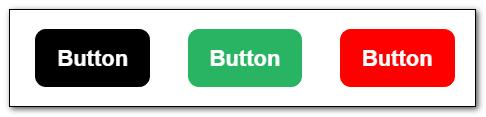Three buttons created with HTML and CSS3. The first button is in hover state where the background changes to black.
