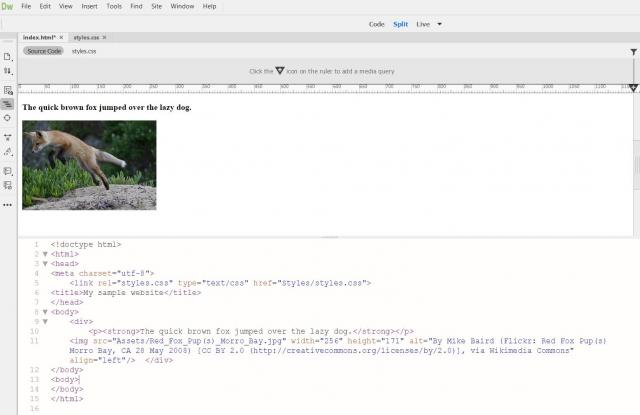 Adobe Dreamweaver screenshot of Live View Feature