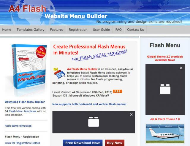 A4 Flash Menu Generator