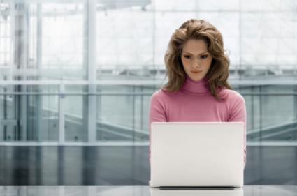 Woman working on a web page design
