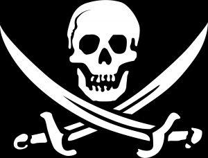Pirate graphic image of a skull and crossed swords