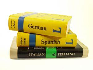 German, Spanish, and Italian language translation books