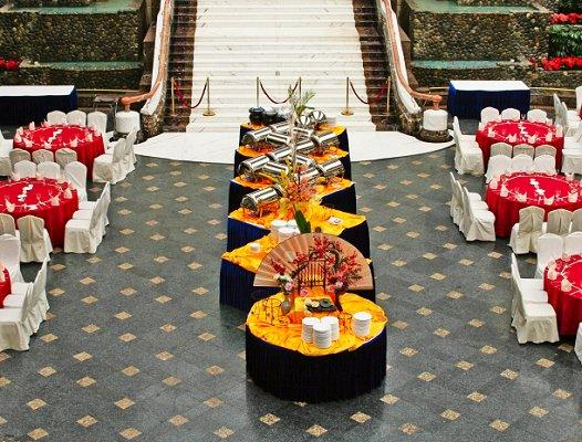 A buffet can be a convenient and affordable way to serve a meal at your wedding reception