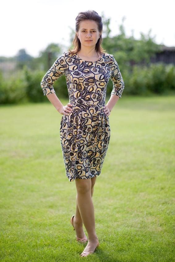 Wedding Guest In A 3 4 Length Sleeve Summer Dress
