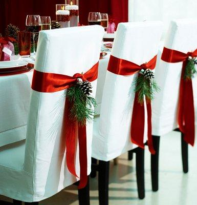 red ribbon christmas wedding chair decorations