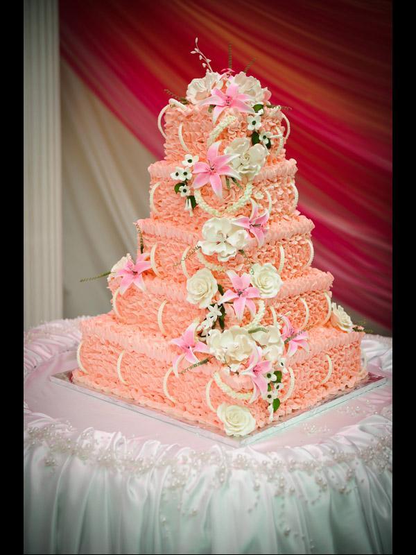 Delightful Pink Ruffle Cake