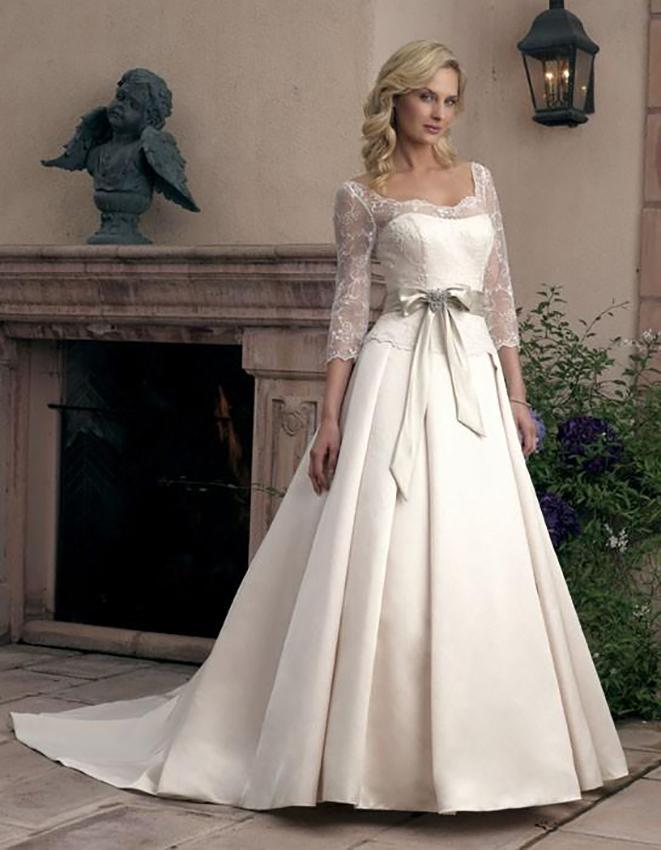 Wedding dresses with sleeves lovetoknow casablanca three quarter sleeve junglespirit Gallery