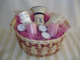 A pretty pink spa basket for the bridesmaids