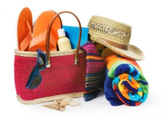 Gift tote with items for a beach wedding