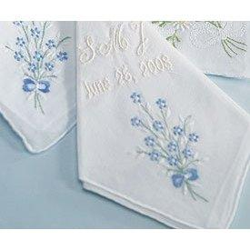 Handkerchief with Blue Floral Embroidery