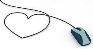 Computer mouse cord shaped like a heart