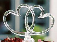 Simple glass hearts wedding cake topper