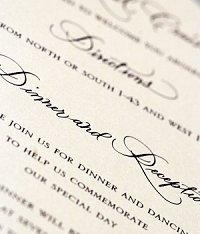 Example of mixed fonts on a wedding invitation