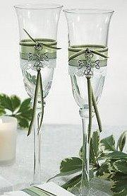 Wedding Champagne flutes decorated with Celtic charms