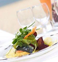 Salad served at a beach wedding reception