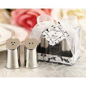 Heart-Shaped Silver Salt and Pepper Wedding Favors