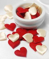Red and white satin heart wedding confetti