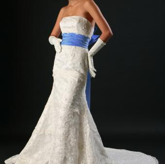 wedding dress with colored sash