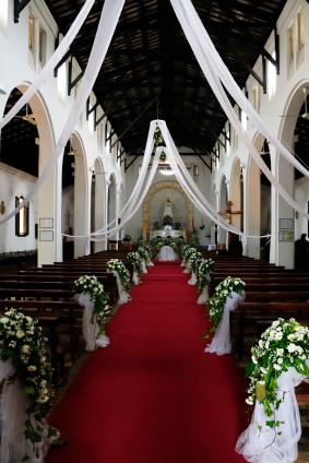 Church decorated for a wedding