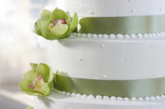 Cake with green ribbon