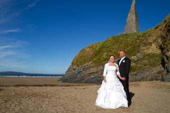 Bride and groom in County Kerry, Ireland.