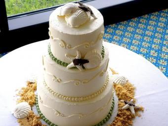 seashell cake with sand