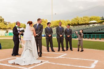 Baseball field wedding, Photo courtesy www.michaelchansley.com / Catherine Dray