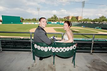 Baseball Wedding Just Married Sign, Photo courtesy www.michaelchansley.com / Catherine Dray, http://www.etsy.com/listing/111104995/baseball-wedding-just-married-sign