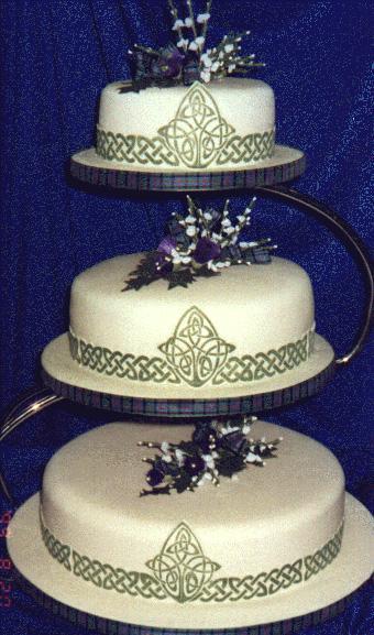 Celtic 3-tiered wedding cake, Photo courtesy Lesley Channer, Creative Cakes www.creativecakes.uk.com