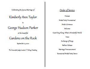 creative wedding program template