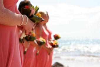 Bridesmaids on beach